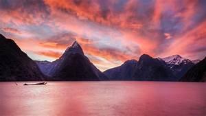Sunset mountains landscapes nature New Zealand lakes ...