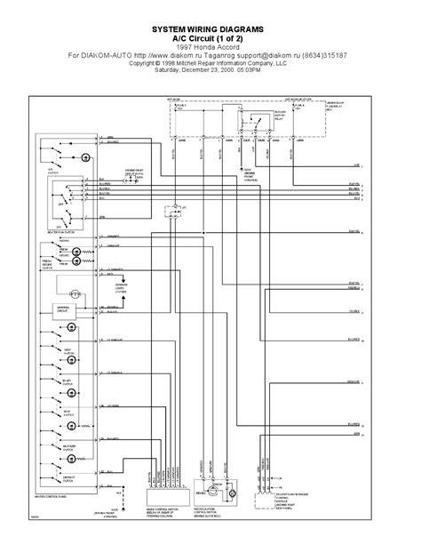 1995 Honda Accord Ac Wiring Diagram by 1997 Honda Accord A C Circuits System Wiring Diagrams