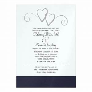 two silver and navy blue hearts wedding invitation 13 cm x With navy and silver wedding invitations uk
