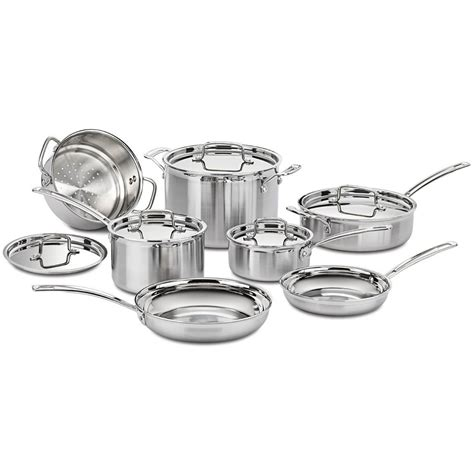 cuisinart multiclad pro tri ply  pc stainless cookware set mcp  refurb ebay