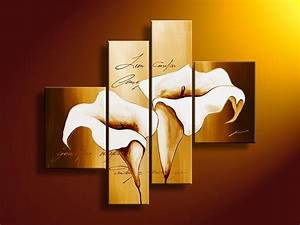 Hand painted oil wall art golden white flowers decoration