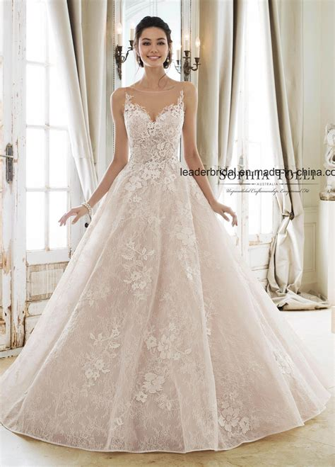 china blush pink bridal ball gown lace applique corset