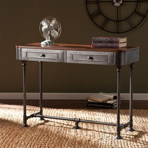 industrial metal console table edison industrial rustic reclaimed metal sofa console