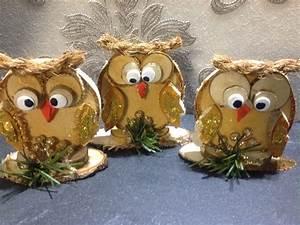 Basteln Mit Baumscheiben : eulen aus holzscheiben handmade als weihnachtsdeko ~ Watch28wear.com Haus und Dekorationen