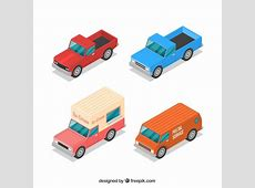 Variety of isometric vehicles Vector Free Download