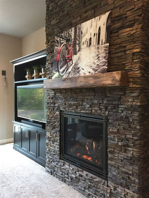 chapel hill stacked stone fireplace surround  custom