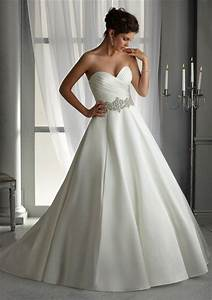 plus size satin wedding dresses with pleating white ivory With white satin wedding dress