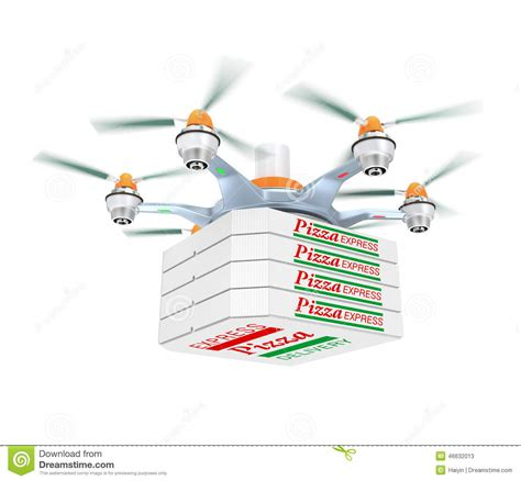 cuisine concept drone carrying pizza for fast food delivery concept stock