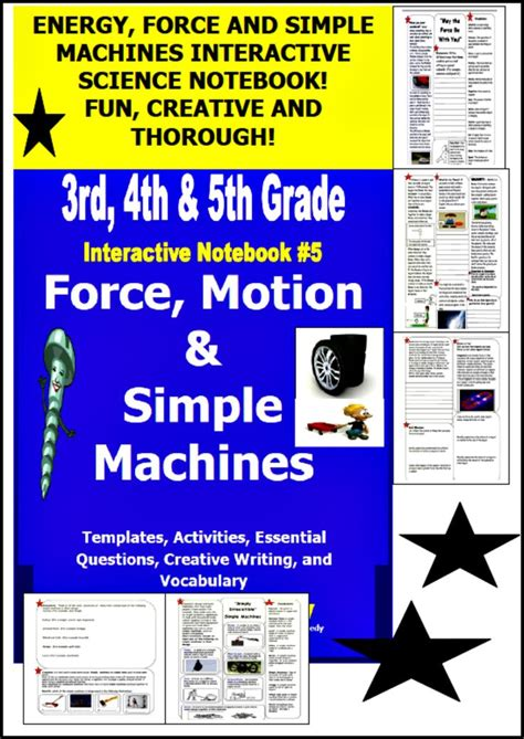 Force And Motion & Simple Machines Interactive Notebook, Lessons, Writing & More Science
