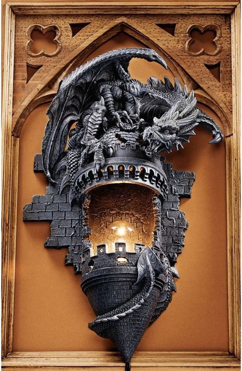 Gothic Castle Turret & Dragon Electric Wall Sconce