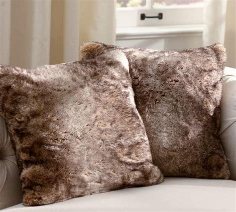 faux fur pillow faux fur pillow cover caramel ombre pottery barn