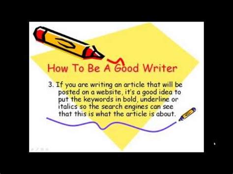 How To Be A Good Writer Youtube