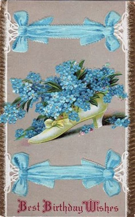 vintage birthday card shoe  forget  nots
