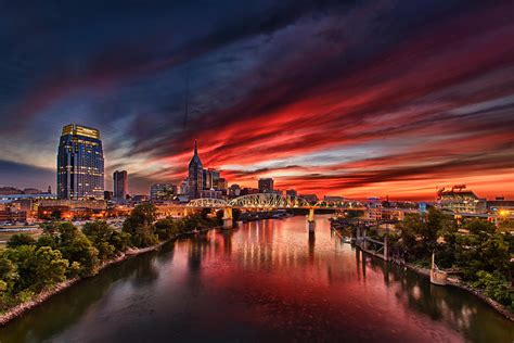 Nashville Tennessee Landschaft by Nashville Sunset Photograph By Warne Riker
