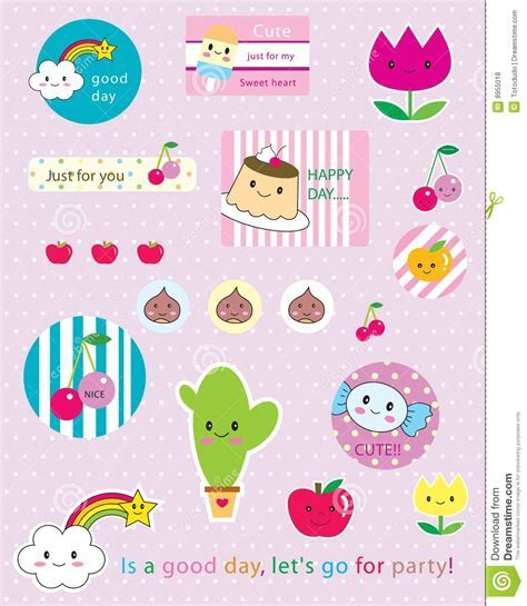 Kawaii sticker stock vector. Image of candy, cloud