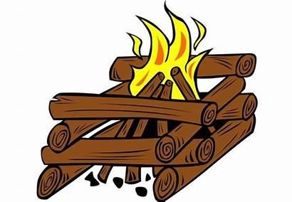 Fireplace Fire Start Log Cabin Method Cartoon