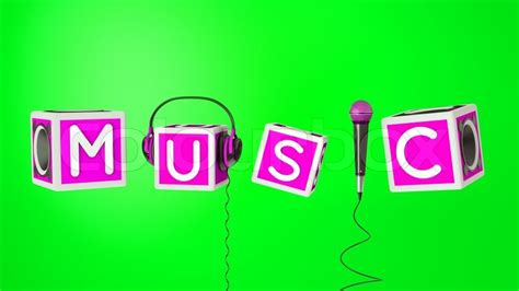 A word music with microphone, headphones a bassboxes as a ...