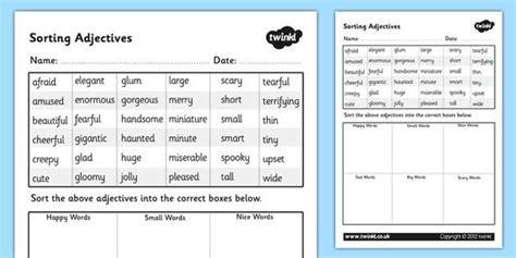 sorting adjectives worksheet adjectives sorting