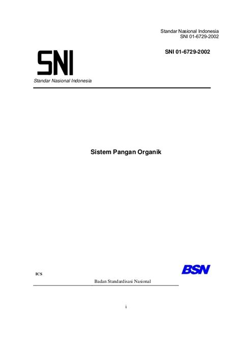 SNI Sistem Pertanian Organik