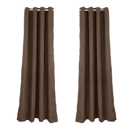 polyester drapes grommet window curtain brown set