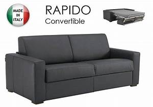 canape convertible ouverture rapido 160cm dreamer cuir With canapé cuir convertible couchage quotidien