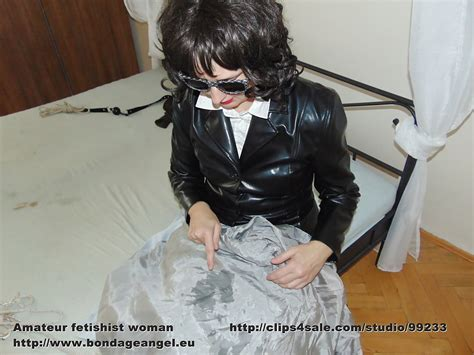 Satin Slave Leather Mistress And Satin Lining Handjob 9