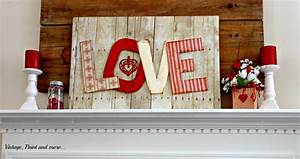 DIY Valentine Mantel Vintage, Paint and more