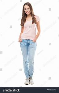 Casual Young Woman Standing Stock Photo 164737814 ...