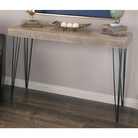 iron wood console table modern elegance gray wood and iron console table 56974 4803