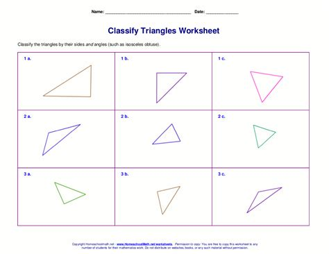 worksheets for classifying triangles by sides angles or both