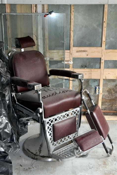 Emil J Paidar Barber Chair by Noakes House Silent Auction Barber Chair Preservation