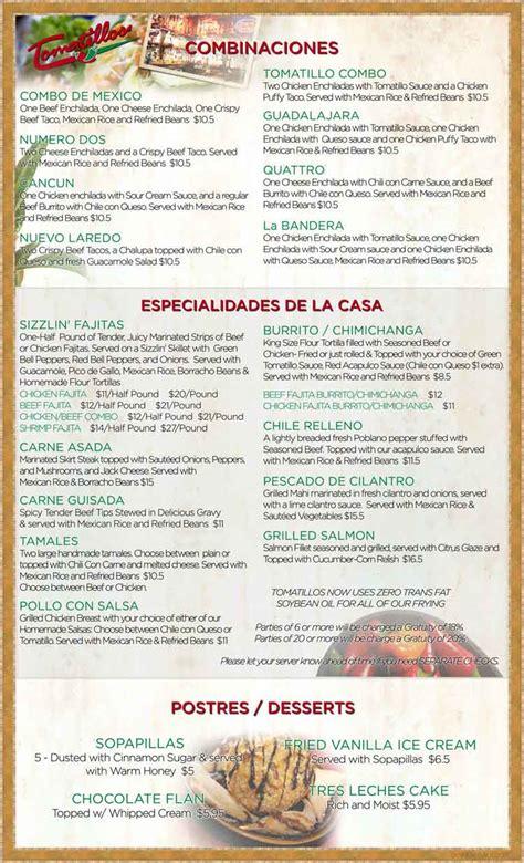 tomatillos restaurant menu  san antonio