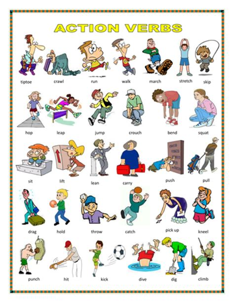Action Verbs, Action At Home By Englishbee Teaching