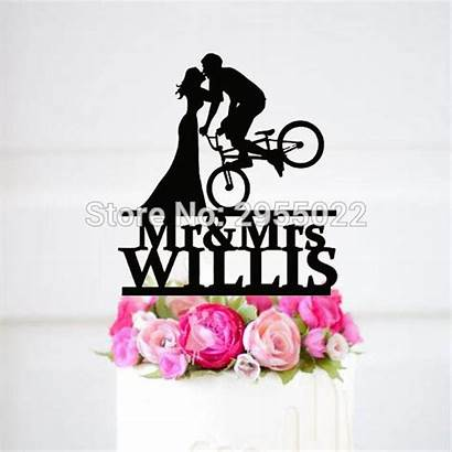 Groom Bride Bike Silhouette Cake Topper Acrylic
