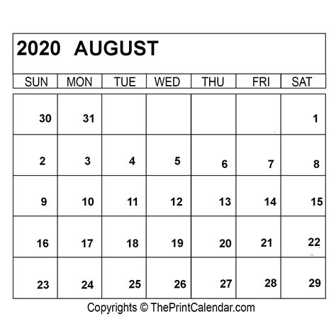 august  printable calendar template  word excel