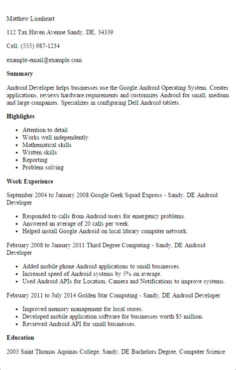 16764 android developer resume professional android developer templates to showcase your