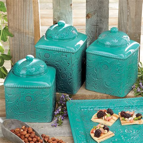 turquoise canisters kitchen turquoise canister set 3 pcs