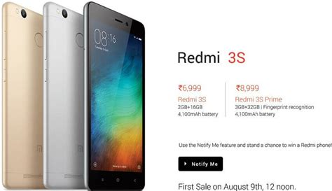 buy xiaomi redmi 3s gold 16gb now rs 6999 sale on
