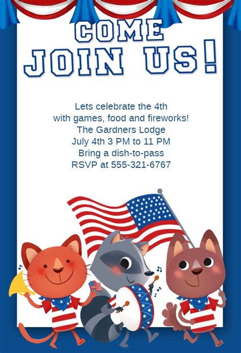 patriotic animals   july invitation template