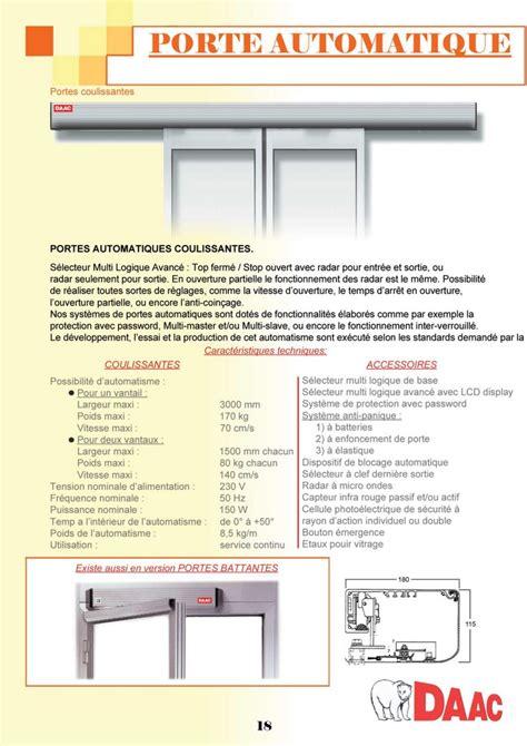 catalogue daac en ligne p18 porte automatique