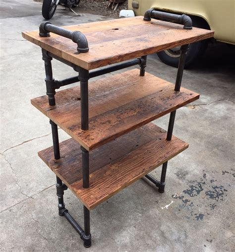 wine rack kitchen island small black iron pipe and reclaimed wood shoe shelf by