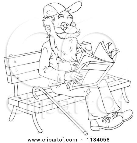 cartoon   colored  outlined happy senior man reading  newspaper   park bench