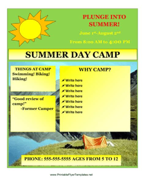 summer flyer templates free 12 free summer camp flyer templates demplates