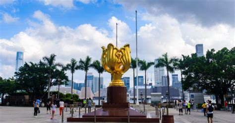 golden bauhinia square  important historical site   hong kong people  love hong kong