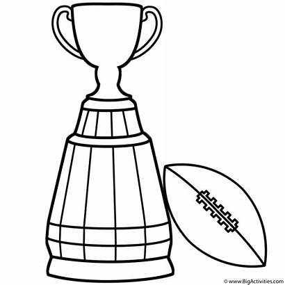 Bowl Coloring Super Trophy Football Cup Pages