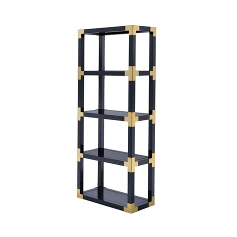 Black High Gloss Bookcase by Acme Lalfy Etagere Bookcase In Gold And Black High Gloss