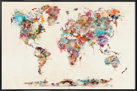 World Map Watercolor as Poster in Standard Frame JUNIQE