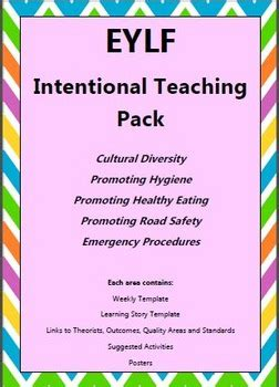 eylf intentional teaching pack  early years learning