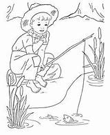 Boys Coloring Printable Fishing Sheets Boy Gone sketch template