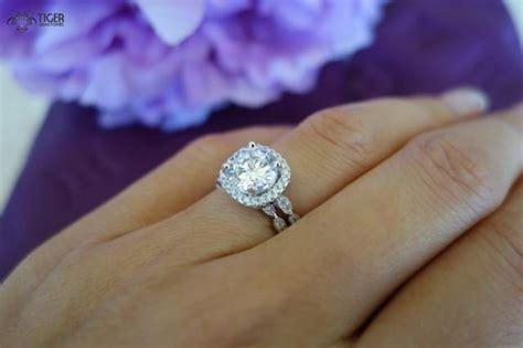 2 25 carat halo wedding set vintage bridal rings d color